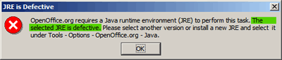 OpenOffice.org: Your JRE is Defective