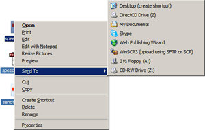 Web Publishing Wizard option in Send To context menu