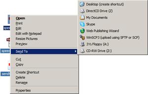 Web Publishing Wizard option in Send To context menu