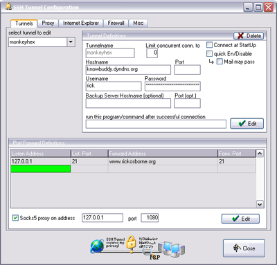 SSH Tunnel Configuration Window
