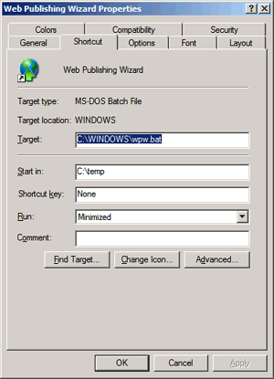 Web Publishing Wizard shortcut properties