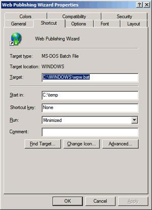 Web Publishing Wizard shortcut properties